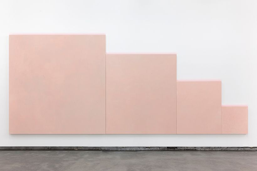 Rochelle Feinstein, <em>Wall of Self</em>, 2017, oil on canvas, 84 x 202 1/2 inches (213.4 by 514.4 cm). Courtesy of On Stell