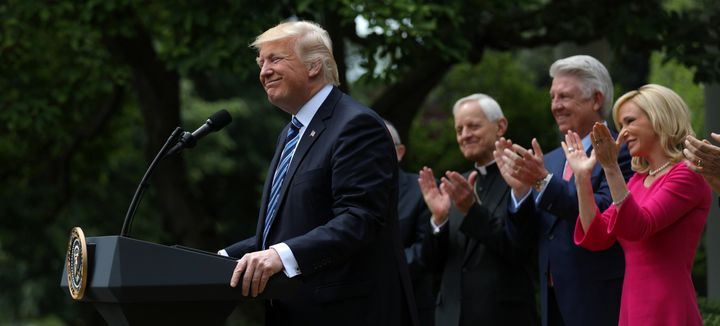 U.S. President Donald Trump speaks during a National Day of Prayer event at the Rose Garden of the White House in Washington