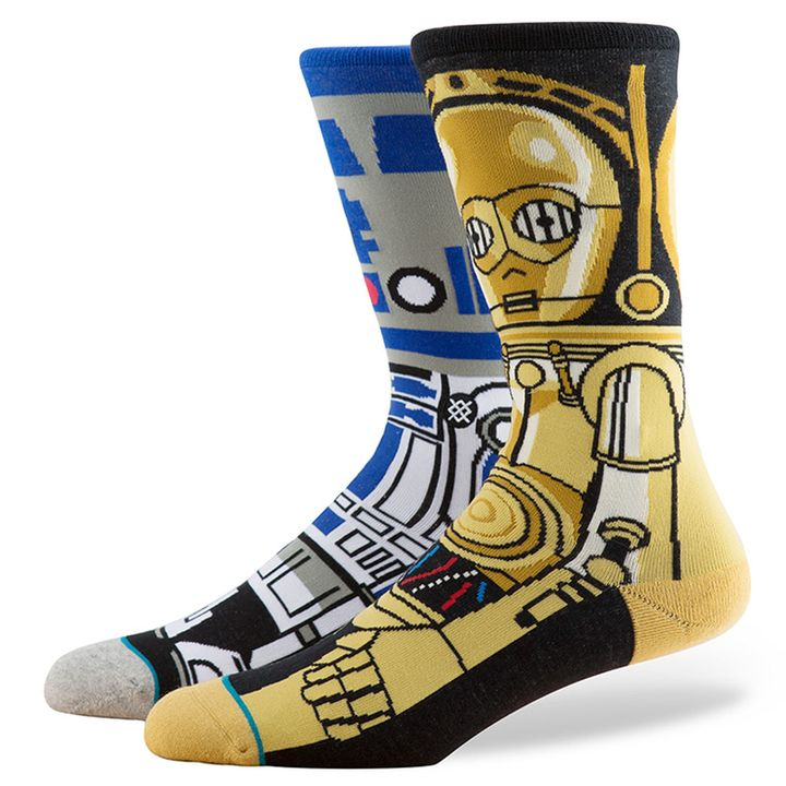 "Droid Star Wars socks, <a href=""http://www.stance.com/droid/M545D15DRO.html?gdffi=417b7daa74a84a1bb6c73fa1eec9028f&amp;gdfms=DB708E9B0DD04A048EFA2B37FD0ABF7D&amp;utm_term=shopping&amp;utm_content=s%7cpcrid%7c54228280313%7cpkw%7c%7cpmt%7c%7cpdv%7cc&amp;gclid=Cj0KEQjwoqvIBRD6ls6og8qB77YBEiQAcqqHe-_7VOeieQucBKCsguRYN2vfjjQfpBauPTJDgnoHsJkaAiz88P8HAQ&amp;gclsrc=aw.ds"" target=""_blank"">$20 at&nbsp;Stance.com</a>"