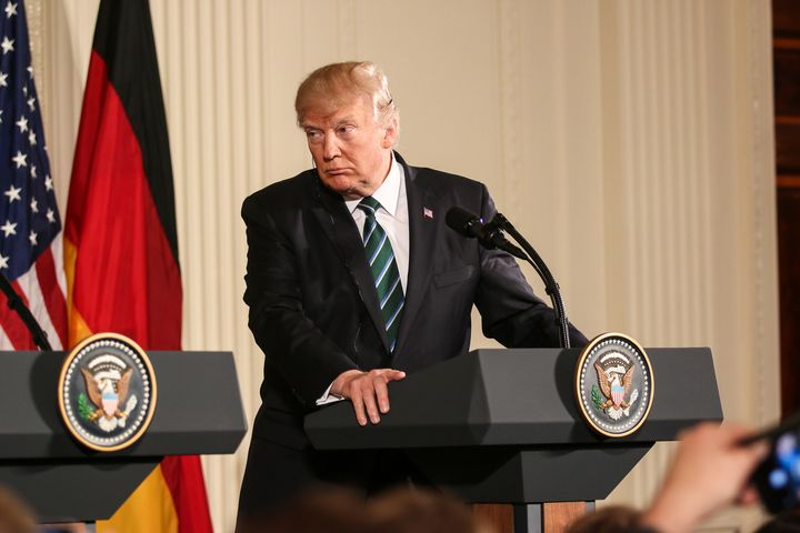 Washington, DC – March 17, 2017: US President Donald Trump hold a joint press conference with German Chancellor Angela Merkel