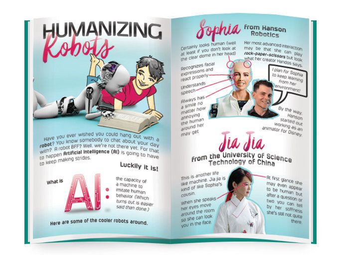 The magazine includes features on inventions, discoveries and famous women in science.