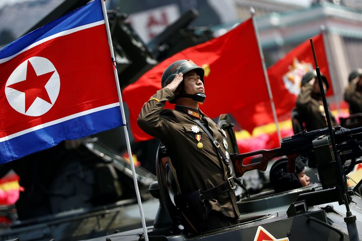 A soldier salutes during North Korea's military parade on April 15.