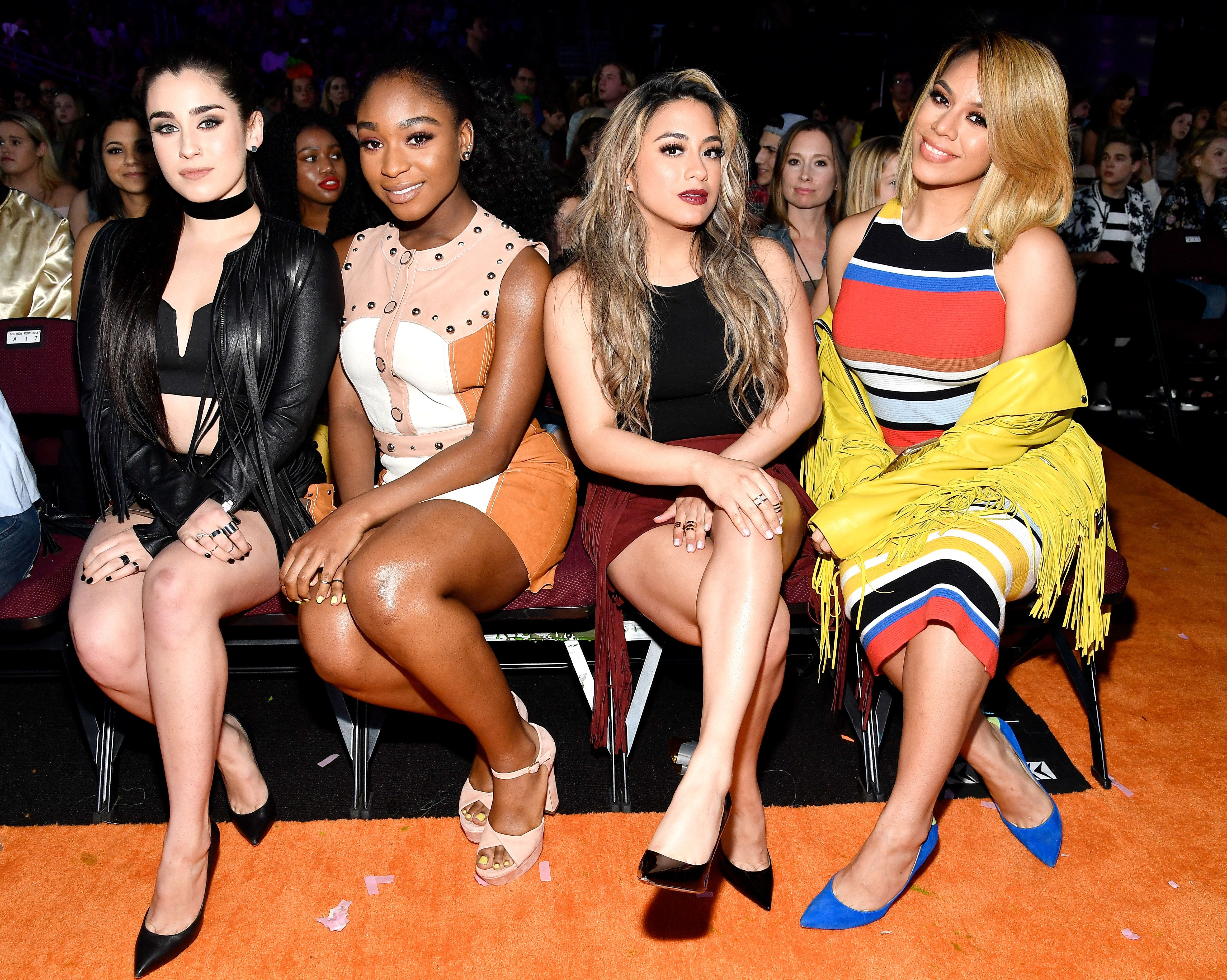 LOS ANGELES, CA - MARCH 11:  (L-R) Singers Lauren Jauregui, Normani Kordei, Ally Brooke, and Dinah Jane of Fifth Harmony in the audience at Nickelodeon's 2017 Kids' Choice Awards at USC Galen Center on March 11, 2017 in Los Angeles, California.  (Photo by Frazer Harrison/KCA2017/Getty Images for Nickelodeon)