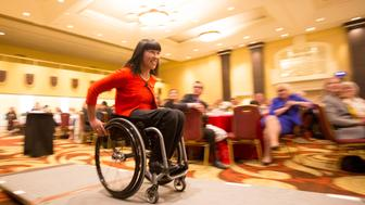 TORONTO, ON - APRIL 21  -   Chantal Petitclerc - Fourteen-time Paralympic gold medalist was the guest speaker at the event.   The 2017 WAMS Honouree Annette Verschuren, O.C., CEO of NRStor Inc. and guest speaker Chantal Petitclerc - Fourteen-time Paralympic gold medalist spoke during the Women Against Multiple Sclerosis Gala Luncheon at the Fairmont Royal York in Toronto on April 21, 2017.        (Carlos Osorio/Toronto Star via Getty Images)