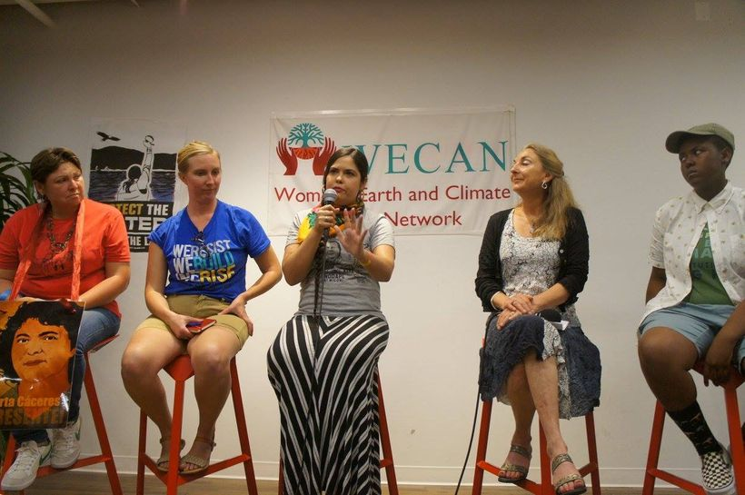 <strong>Panel Two</strong> (from left to right): Angela Adrar (Our Power Campaign); May Boeve (350.org); Tara Houska (Anishin