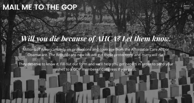 This Website Will Mail Your Ashes To The GOP If Trumpcare Kills You.