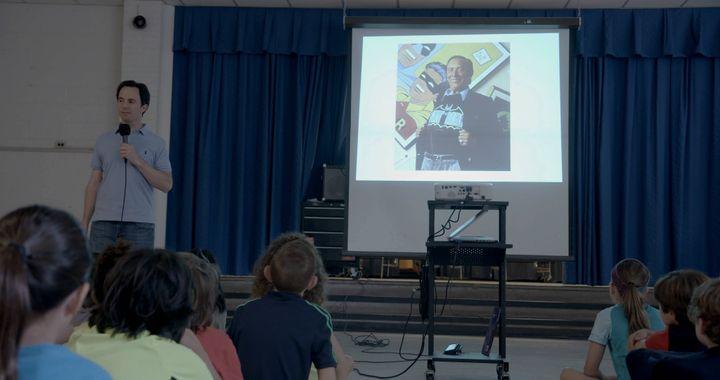 Marc Tyler Nobleman makes presentations on Bob Kane and Bill Finger.