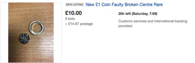A search for broken new £1 coins yields a string of