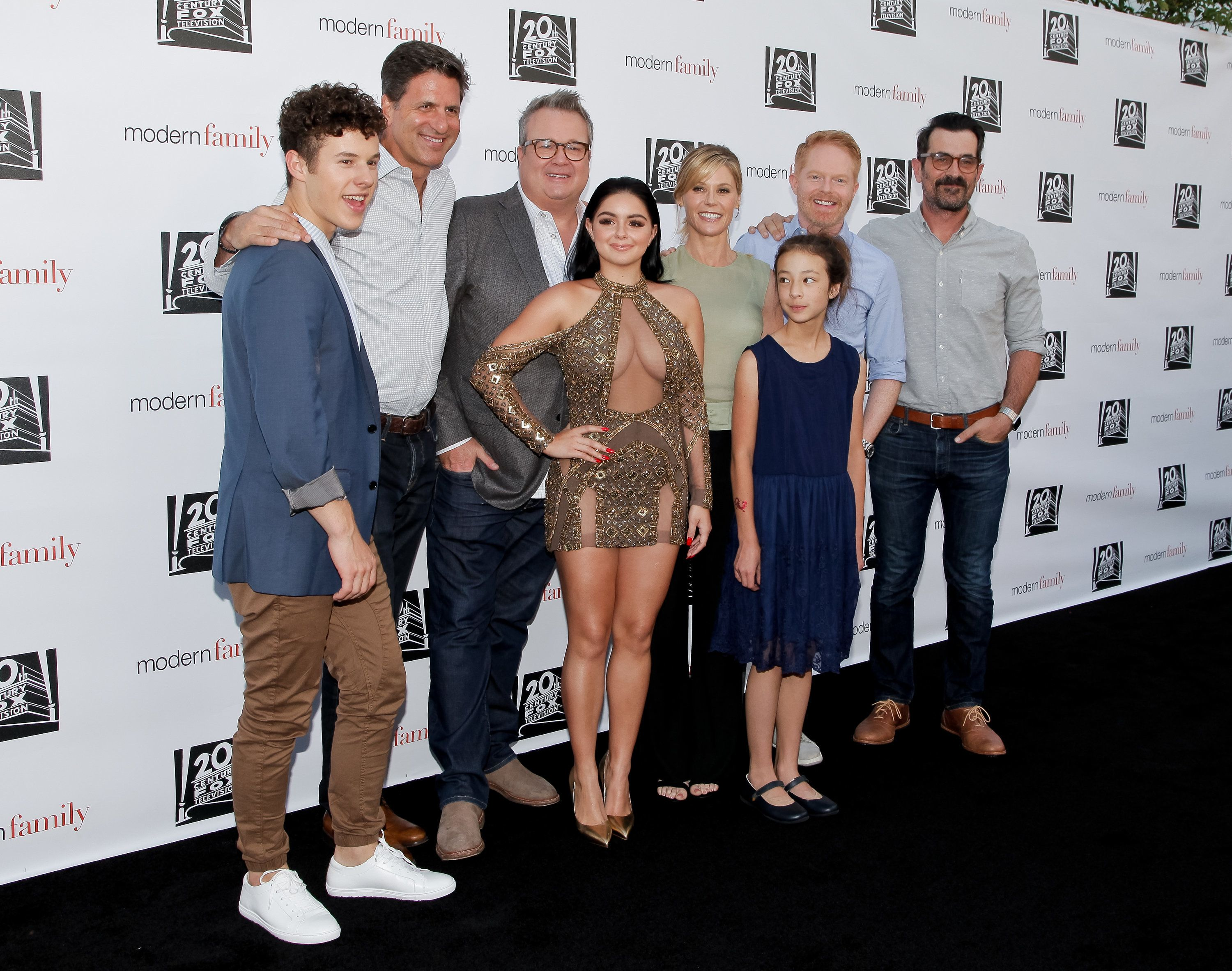 NORTH HOLLYWOOD, CA - MAY 03:  (L-R) Nolan Gould, Steven Levitan, Eric Stonestreet, Ariel Winter, Julie Bowen, Aubrey Anderson-Emmons, Jesse Tyler Ferguson and Ty Burrell attend ABC's 'Modern Family' ATAS event at Saban Media Center on May 3, 2017 in North Hollywood, California.  (Photo by Tibrina Hobson/Getty Images)
