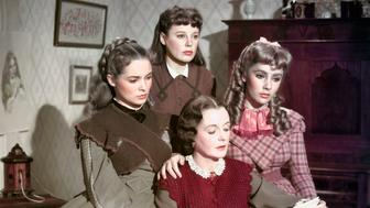Actresses Margaret O'Brien, Janet Leigh, June Allyson, Elyzabeth Taylor and Mary Astor on the set of Little Women, based on the novel by Louisa May Alcott and directed by George Cukor. (Photo by Metro-Goldwin-Mayer Pictures/Sunset Boulevard/Corbis via Getty Images)