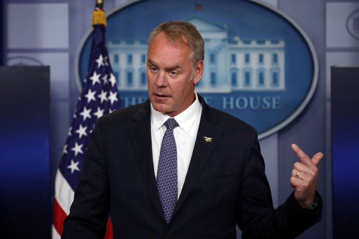 Secretary of the Interior Ryan Zinke speaks during a daily press briefing at the White House last month.