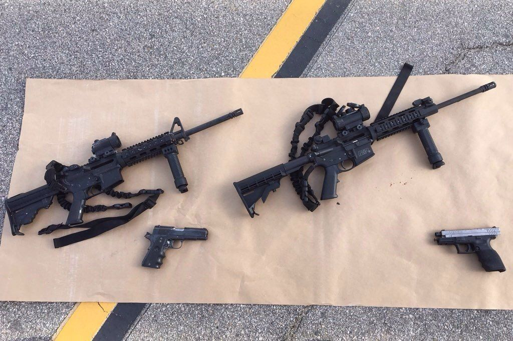 The four guns used by the ISIS-inspired shooters who killed 14 people in San Bernardino, California on Dec. 4, 2015.
