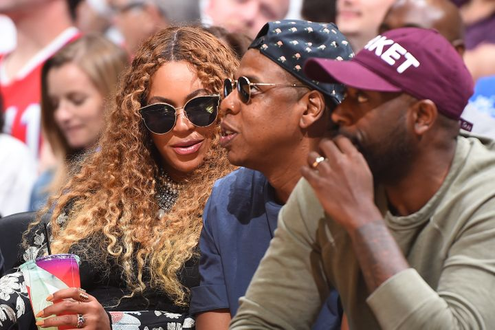 Beyonce and Jay Z attend Game Seven of the Western Conference Quarterfinals between the Utah Jazz and the LA Clippers during the 2017 NBA Playoffs on April 30.