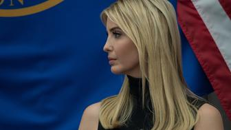 Ivanka Trump, daughter and adviser of US President Donald Trump, speaks at National Small Business Week event in Washington, DC, on May 1, 2017. / AFP PHOTO / NICHOLAS KAMM        (Photo credit should read NICHOLAS KAMM/AFP/Getty Images)