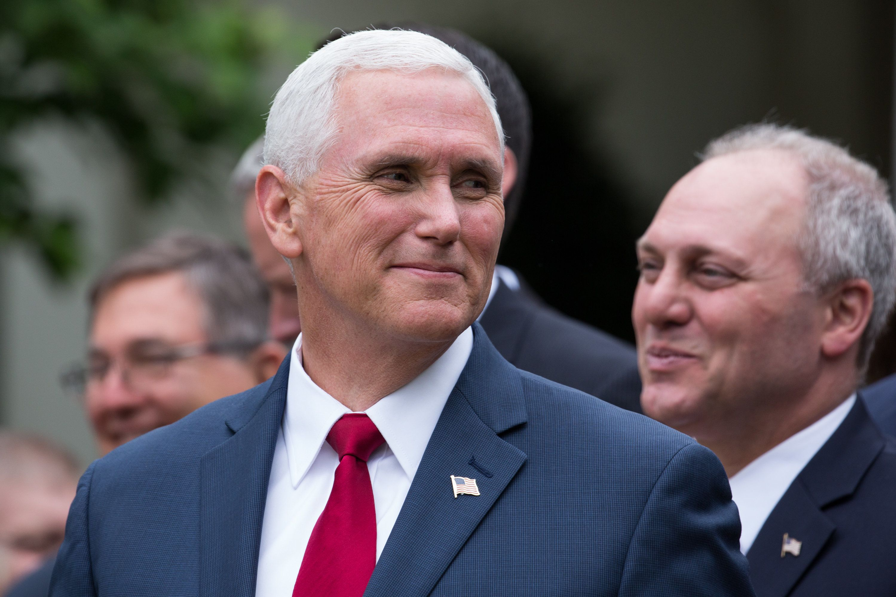 VP Mike Pence laughs during a press conference with members of the GOP, on the passage of legislation to roll back the Affordable Care Act, in the Rose Garden of the White House, On Thursday, May 4, 2017. (Photo by Cheriss May/NurPhoto via Getty Images)