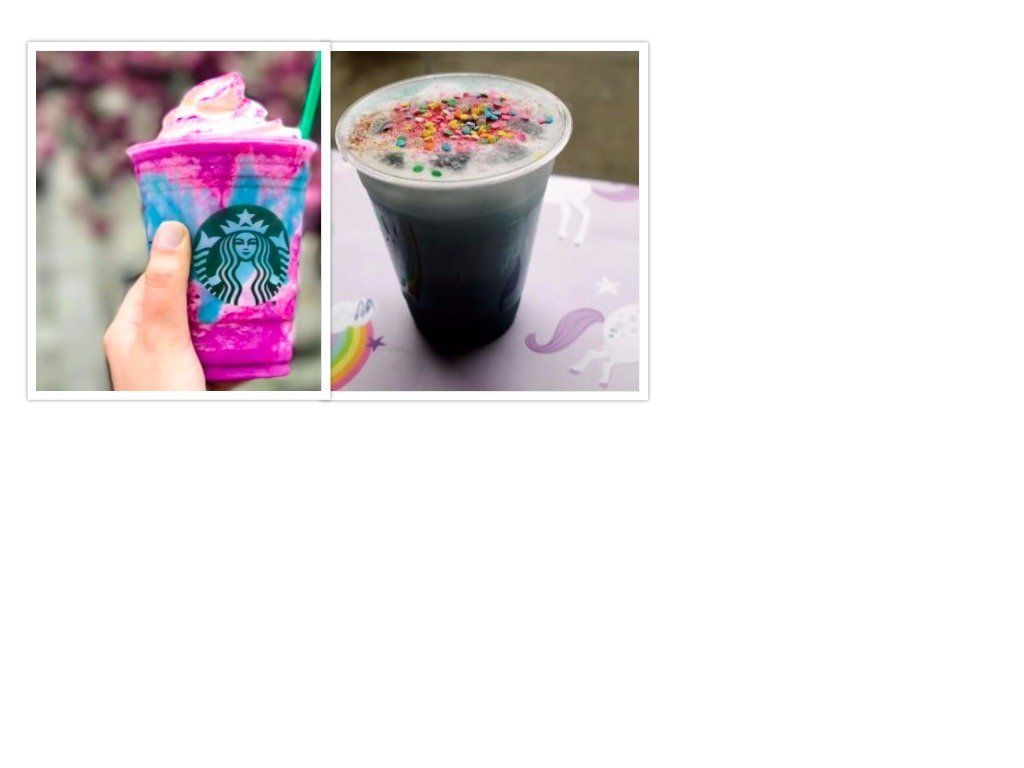 The unicorn frappuccino from Starbucks, left, and the unicorn latte from The EndBrooklyn