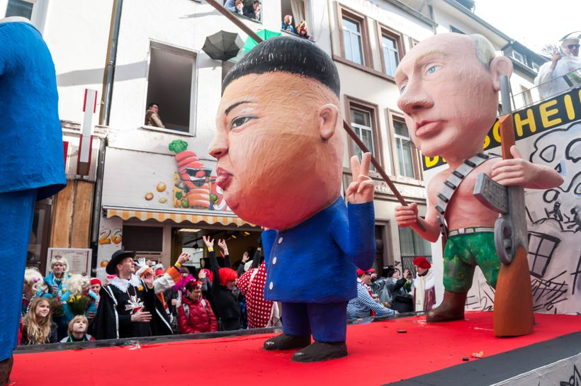 A float featuring Kim Jong-Un and Vladimir Putin at the Rosenmontag parade on February 8, 2016, in Cologne, Germany.
