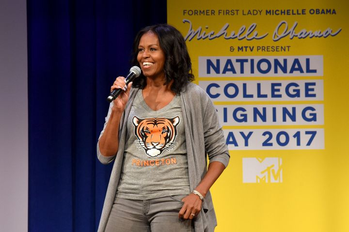 Michelle Obama hosted her fourth annual College Signing Day event in New York City.