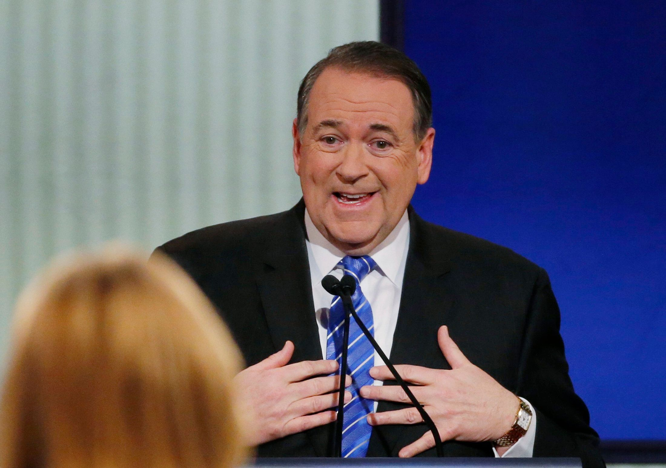 Republican U.S. presidential candidate and former Arkansas Governor Mike Huckabee speaks during a forum for the lower polling candidates held by Fox News before the U.S. Republican presidential candidates debate in Des Moines, Iowa in this January 28, 2016 file photo. Mike Huckabee suspended his bid for the Republican presidential nomination on February 1, 2016 night, the former Arkansas governor announced on Twitter after garnering little support in the Iowa caucuses.   REUTERS/Carlos Barria/Files