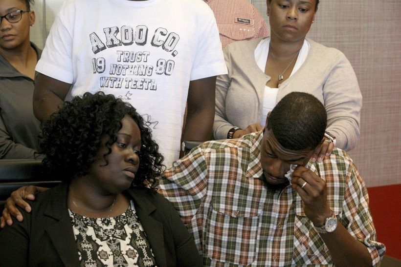 Odell Edwards, the father of 15-year-old Jordan Edwards, wiped away tears as he sat with his wife, Charmaine Edwards. Jordan