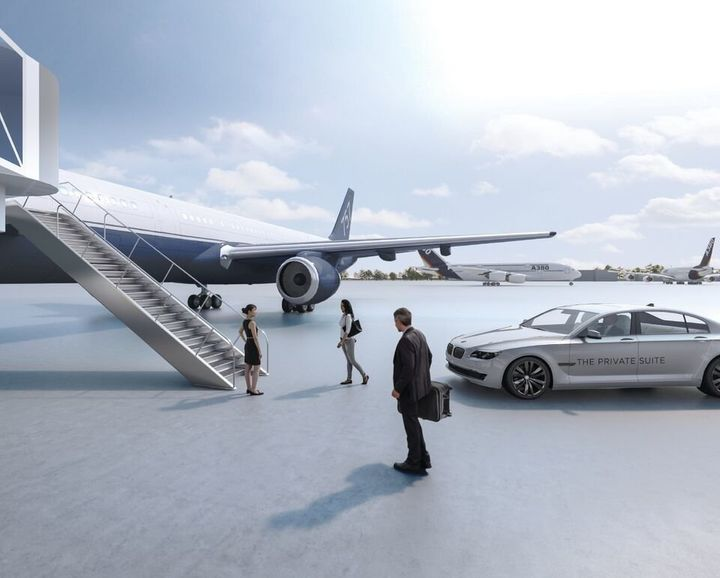 A BMW will shuttle Private Suite members to their planes.