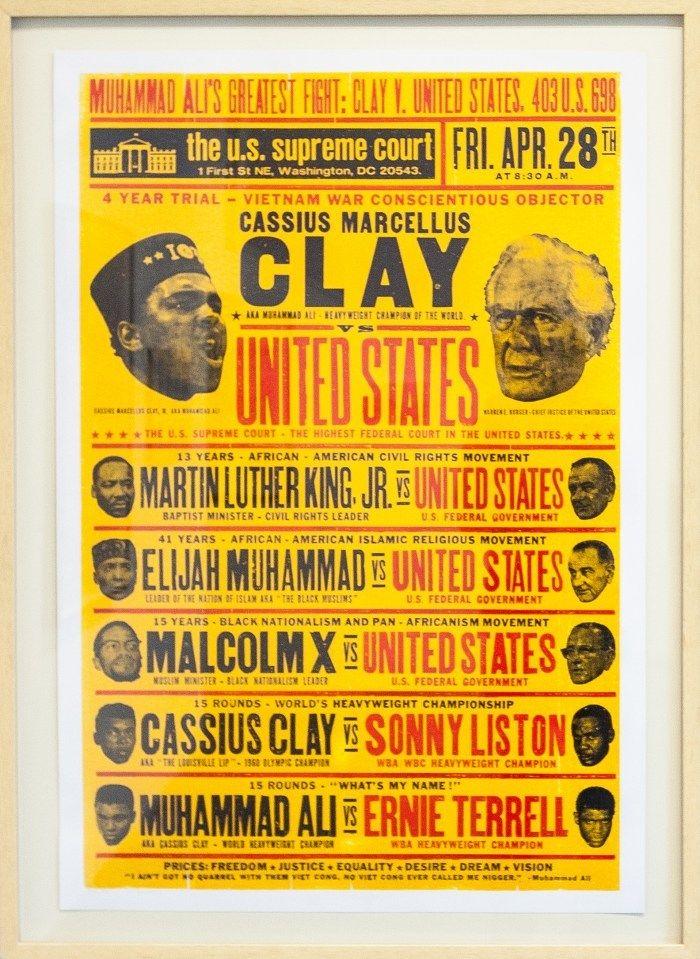 <strong>Kevin Bradley</strong> <em>Clay vs United States</em> 2016. Letterpress print.