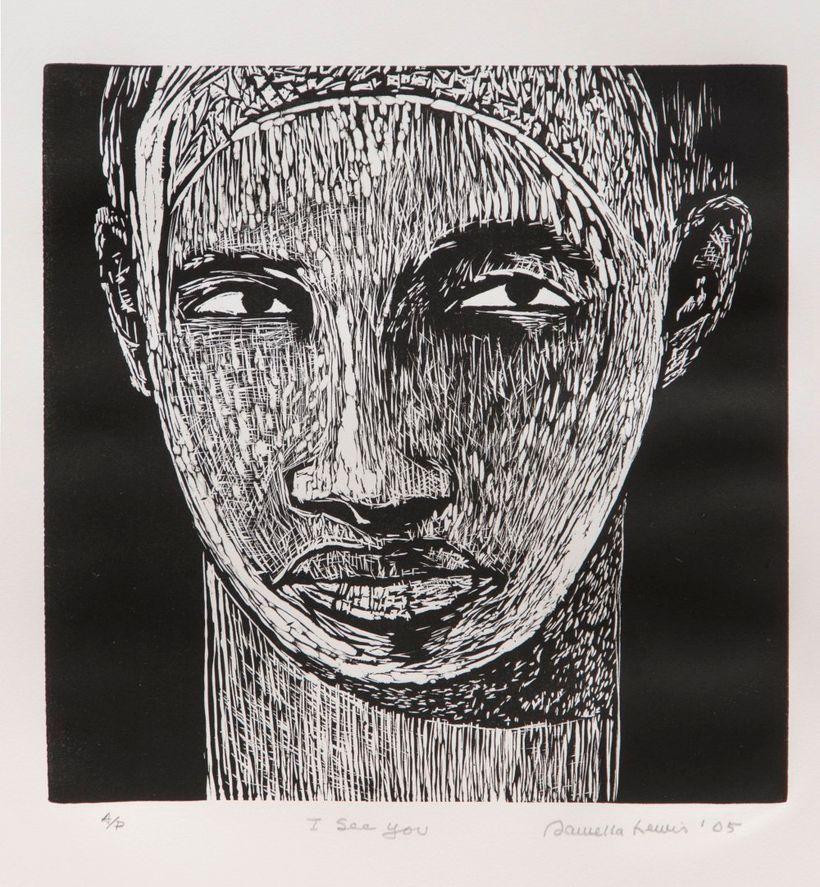 <strong>Samella Lewis</strong> <em>I See You</em> 2005. Linocut