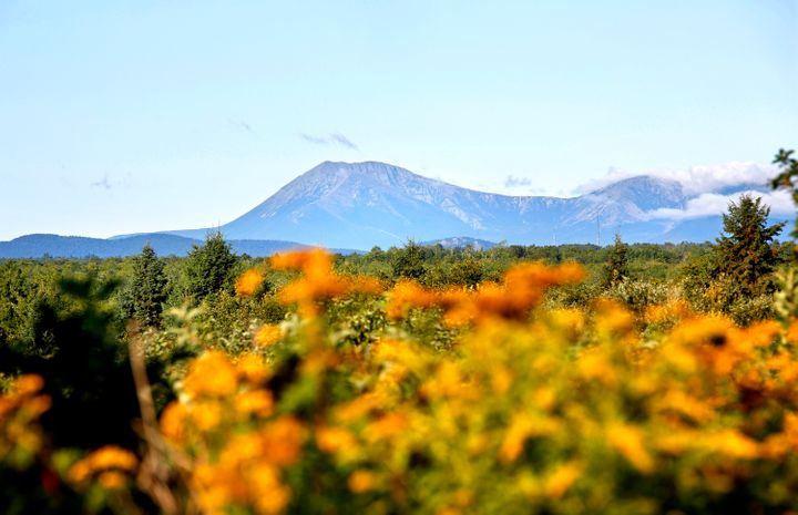 Mount Katahdin is seen in a view from Route 159 in Patten, bordering the Katahdin Woods and Waters National Monument.