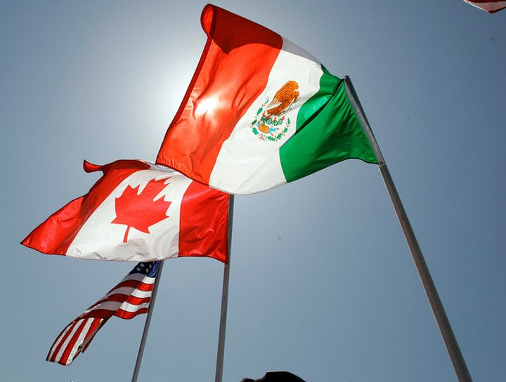 The flags of the United States, Canada and Mexico fly in the breeze in New Orleans in 2008.