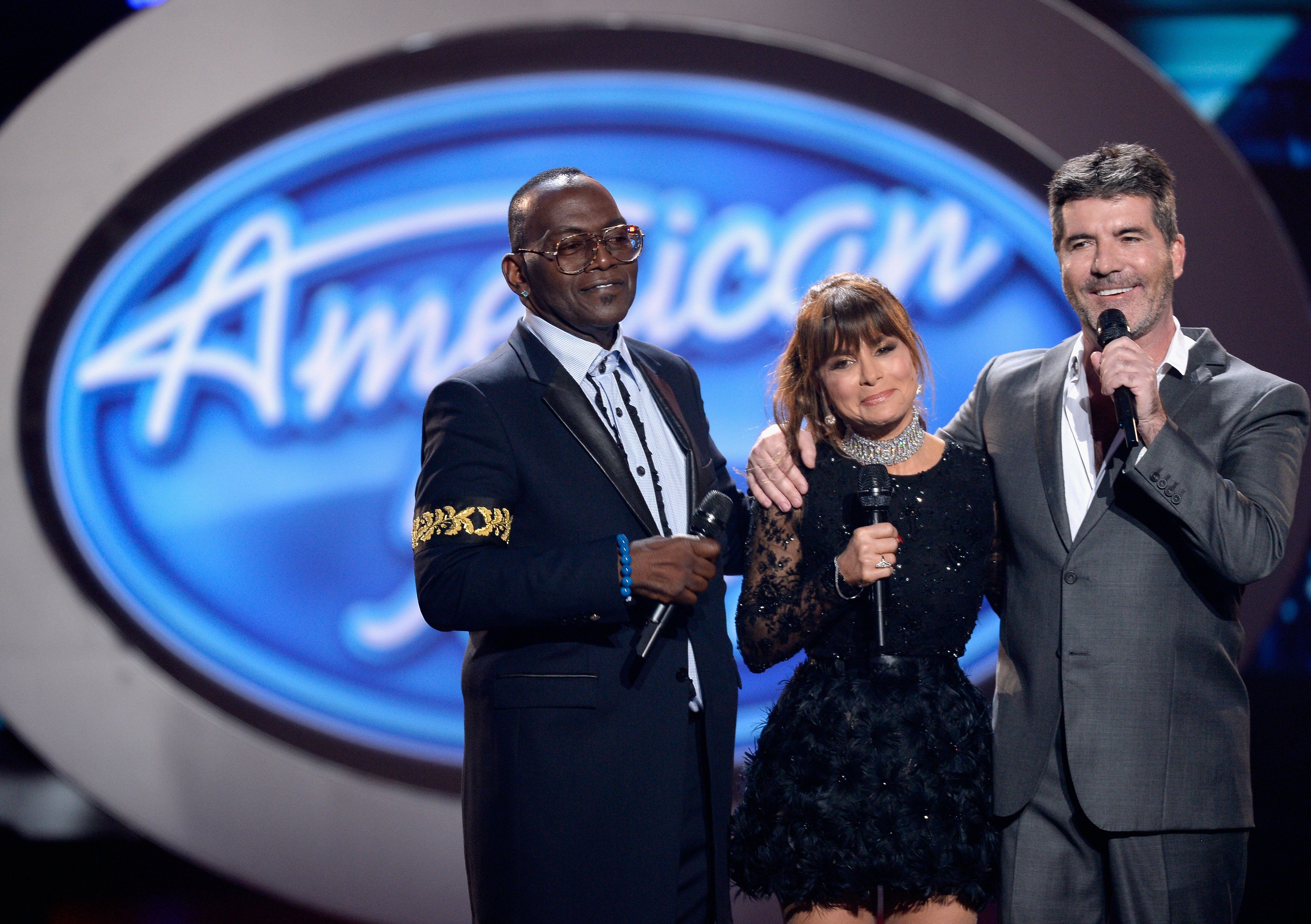 "Season 1 ""American Idol"" judges Randy Jackson, Paula Abdul and Simon Cowell at the 2016 series finale."