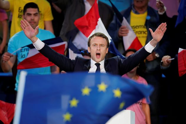 Emmanuel Macron attends a campaign rally in Albi, France, May 4,