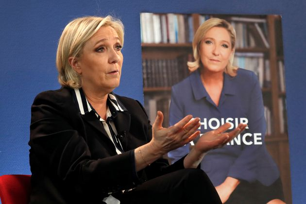 Marine Le Pen, French National Front (FN) candidate for 2017 presidential election, speaks during an...