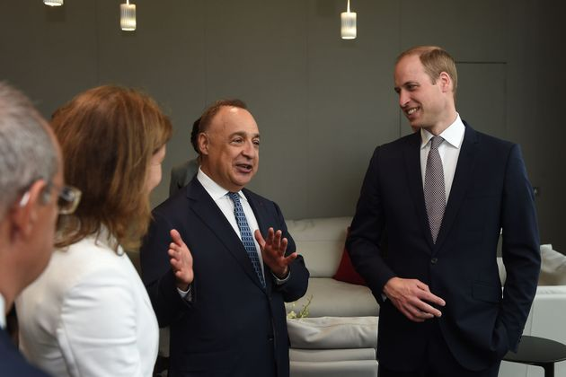 The Duke of Cambridge (right) talks to Len Blavatnik during a tour of the Blavatnik School of Government...