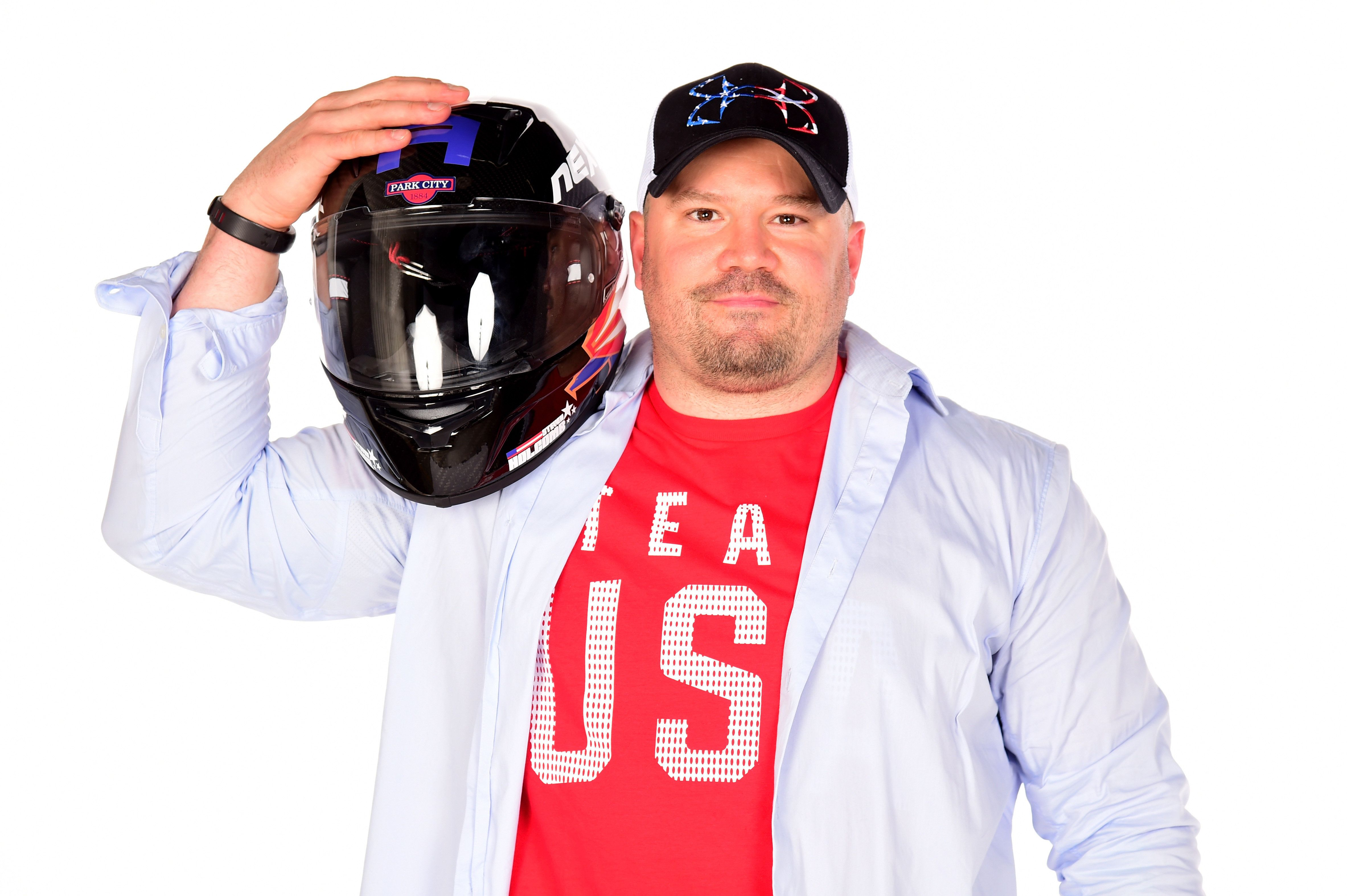 WEST HOLLYWOOD, CA - APRIL 27:  Bobsledder Steven Holcomb poses for a portrait during the Team USA PyeongChang 2018 Winter Olympics portraits on April 27, 2017 in West Hollywood, California.  (Photo by Harry How/Getty Images)