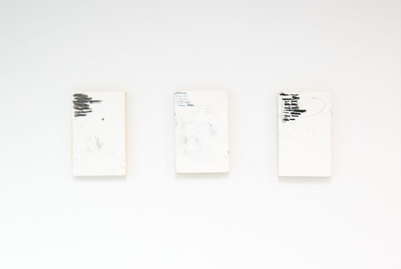 "Installation view: ""Untitled"" (triptych) by Manuel Angeja, part of but what about me?- curated by Alex Maldonado Projects"