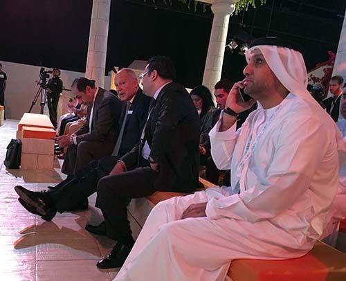 <p><em>Arab League Secretary General (center) listens to a forum speaker (Abu-Fadil)</em></p>