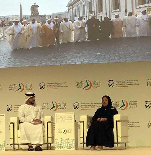 <em>Minister of State for Tolerance Sheikha Lubna Al Qassimi (right) on UAE&#39;s setting a good example (Abu-Fadil)</em>