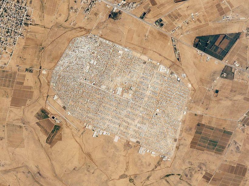 An aerial view of the Zaatari Refugee Camp