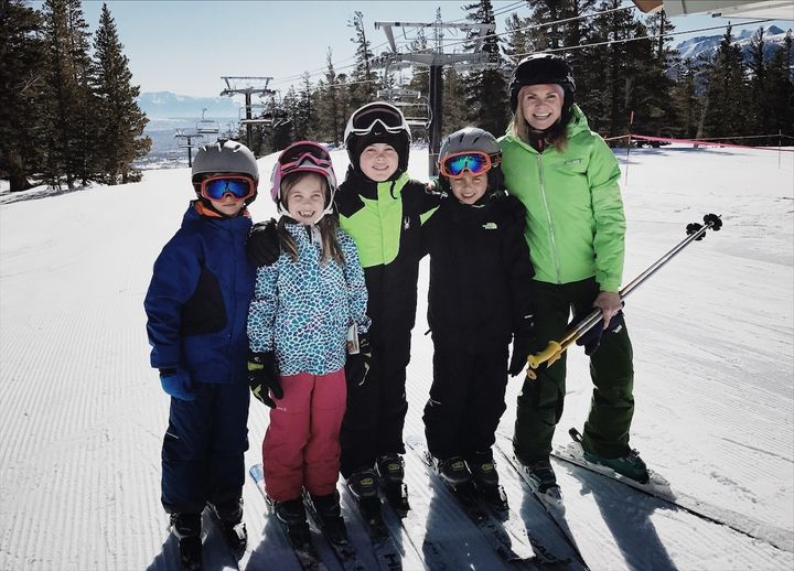 Skiing with my older two kids and two of our young buddies. (My 11-year-old is in the middle, third from the left.)