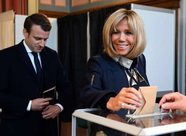 Trogneux casts her ballot at a polling station in Le Touquet, France, on May 7,