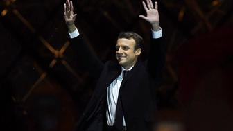 PARIS, FRANCE - MAY 07:  Leader of 'En Marche !' Emmanuel Macron addresses supporters after winning the French Presidential Election, at The Louvre on May 7, 2017 in Paris, France. Pro-EU centrist Macron is the next president of France after defeating far right rival Marine Le Pen by a comfortable margin, estimates indicate.  (Photo by David Ramos/Getty Images)