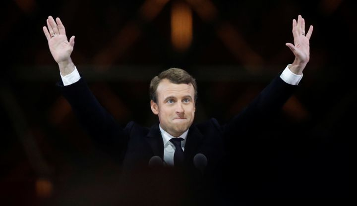 French President-elect Emmanuel Macron celebrates after winning Sunday's election.