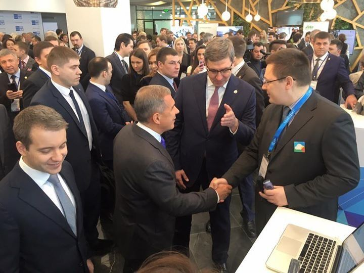 A friend of mine meeting the president of Tartarstan at a technology conference. A good example of relationship building in a
