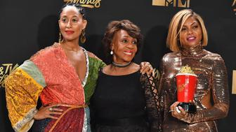 LOS ANGELES, CA - MAY 07:  Actor Tracee Ellis Ross, Congresswoman Maxine Waters and actor Taraji P. Henson, winner of Best Fight Against the System for 'Hidden Figures', pose in the press room at the 2017 MTV Movie and TV Awards at The Shrine Auditorium on May 7, 2017 in Los Angeles, California.  (Photo by Steve Granitz/WireImage)