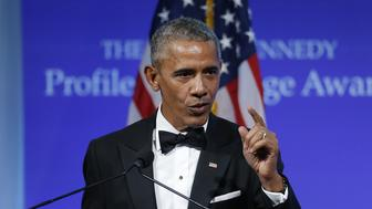 WASHINGTON, DC - MAY 7:  Former U.S. President Barack Obama speaks after receiving the 2017 John F. Kennedy Profile In Courage Award from Caroline Kennedy at the John F. Kennedy Library May 7, 2017 in Boston, Massachusetts. Obama was honored for 'his enduring commitment to democratic ideals and elevating the standard of political courage in a new century,' with specific mention of his expansion of healthcare options, his leadership on confronting climate change and his restoration of diplomatic relations with Cuba.  (Photo by CJ Gunther-Pool/Getty Images)