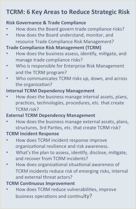 Six Key areas to reduce strategic trade compliance risks.