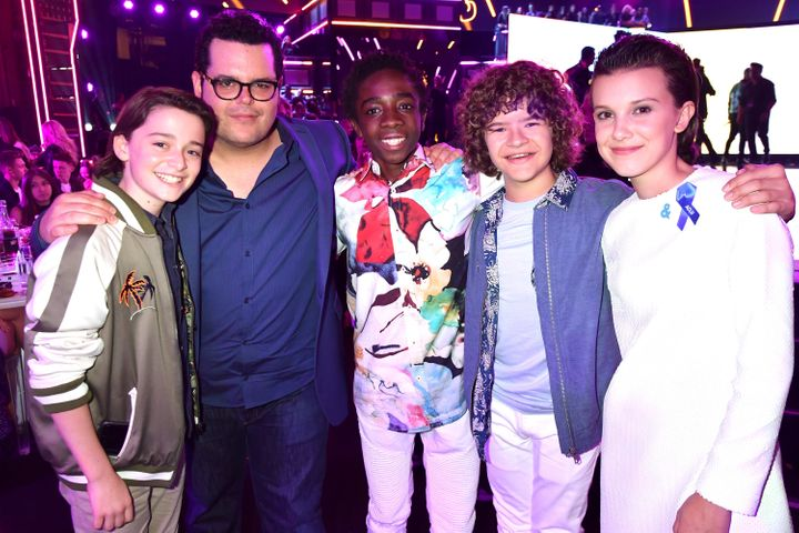 Noah Schnapp, Josh Gad, Caleb McLaughlin, Gaten Matarazzo and Millie Bobby Brown attend the 2017 MTV Movie And TV Awards.