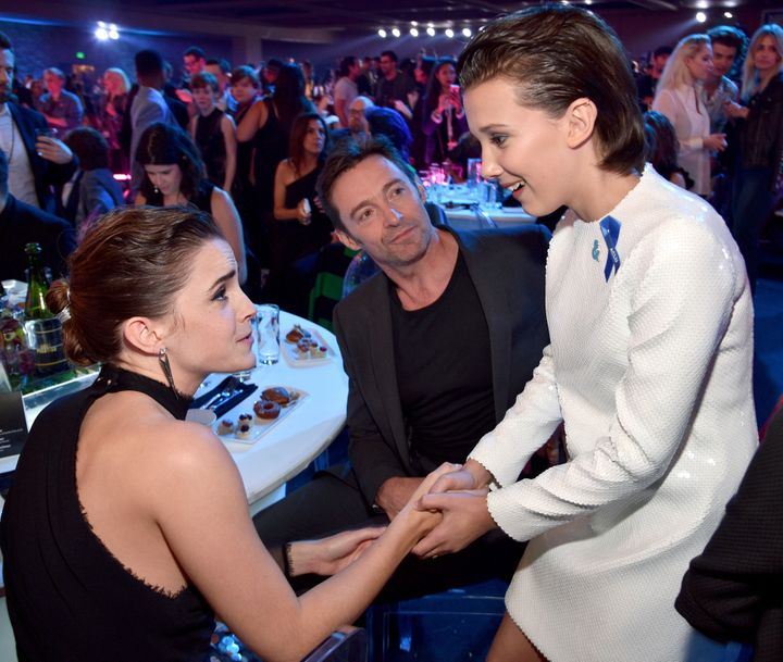 Emma Watson, Hugh Jackman, and Millie Bobby Brown attend the 2017 MTV Movie And TV Awards.