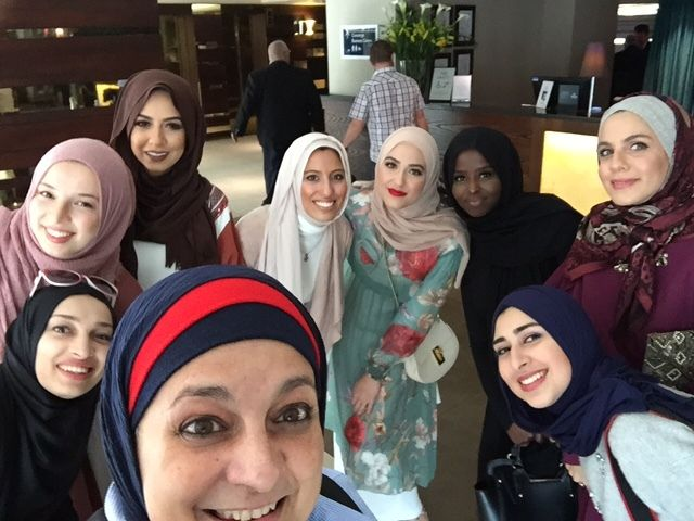 """Internet Famous"" ladies attending London Modest Fashion Week.  Clockwise behind Rose Hamid at front:  Meriem Lebdiri @Meriem"