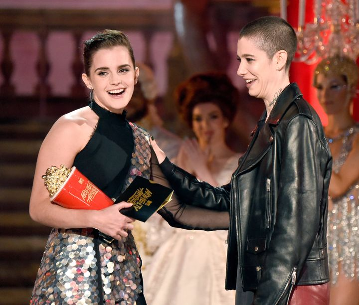 Actor Asia Kate Dillon, right, presented Watson with the award.